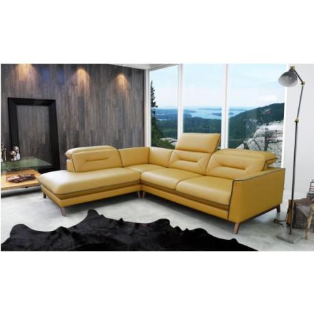 Žlutá sedací souprava Melbourne v retro stylu 60. let, polohovací opěrák, pohodlné sezení - Madros